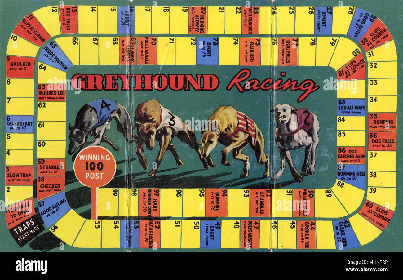 Gioco di bordo sulla base di sport del Greyhound Racing, che riflette la sua popolarità durante il 1920s e 30s. Data: c.1930 Immagini Stock