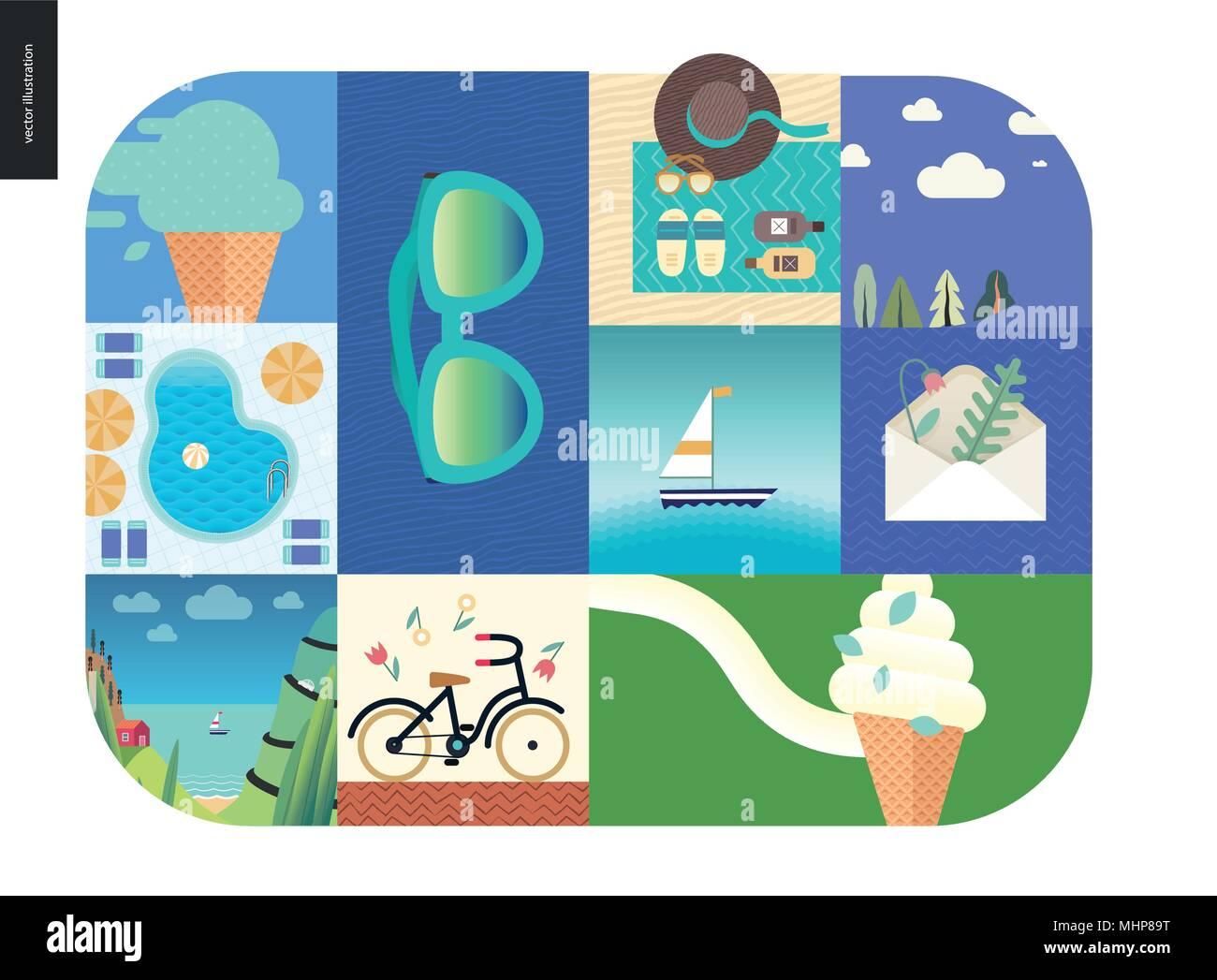 Cose semplici vacanze cartoon piatta illustrazione for Cose semplici da costruire