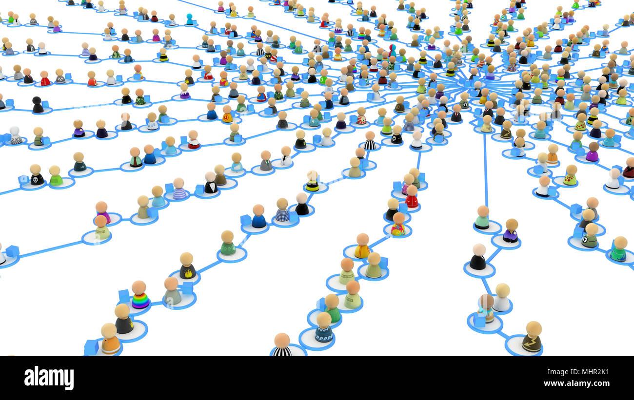 La Folla di simbolico di piccole dimensioni 3d figure collegate mediante linee Immagini Stock