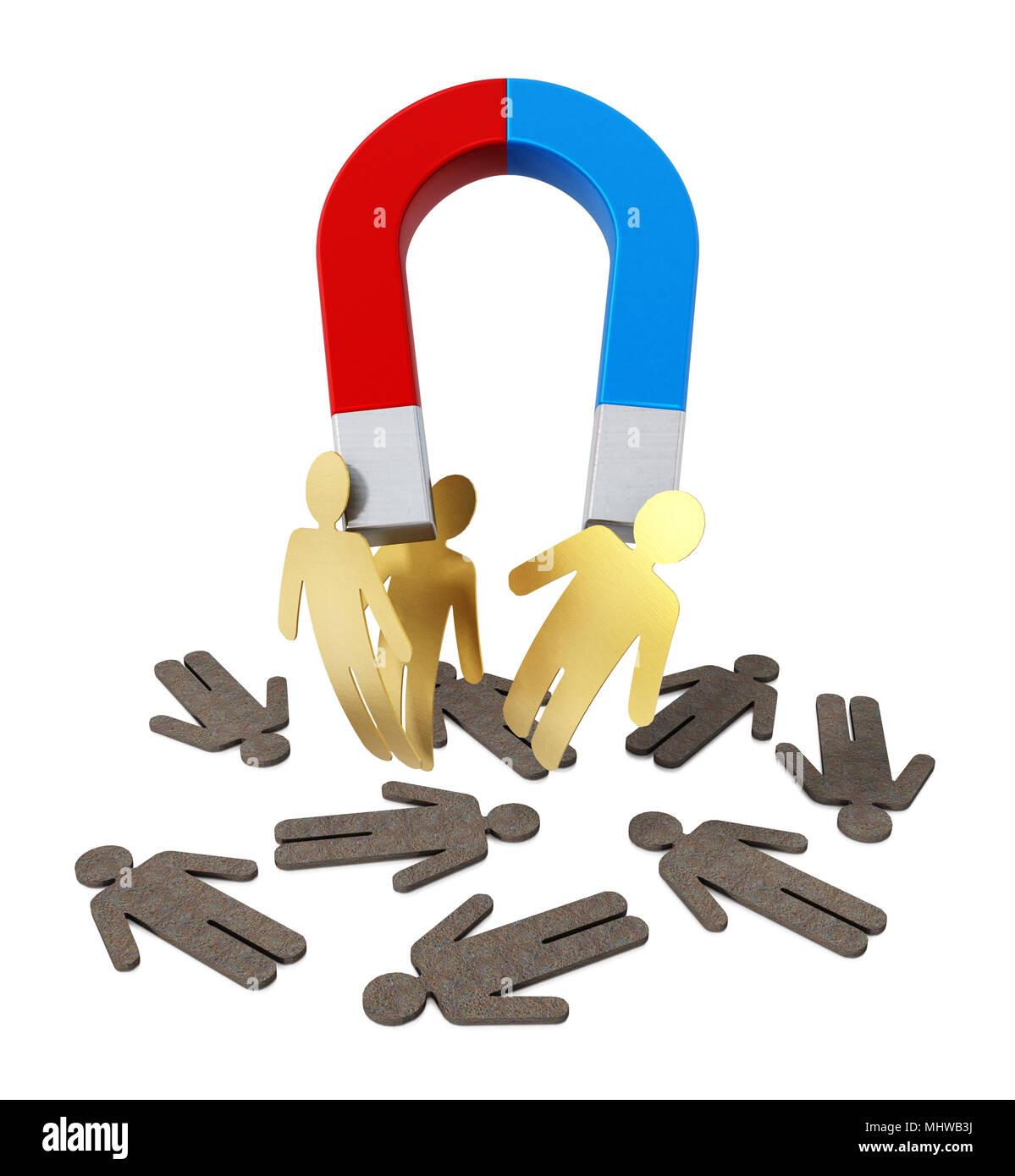 Il magnete a ferro di cavallo tirando golden figure. 3D'illustrazione. Immagini Stock