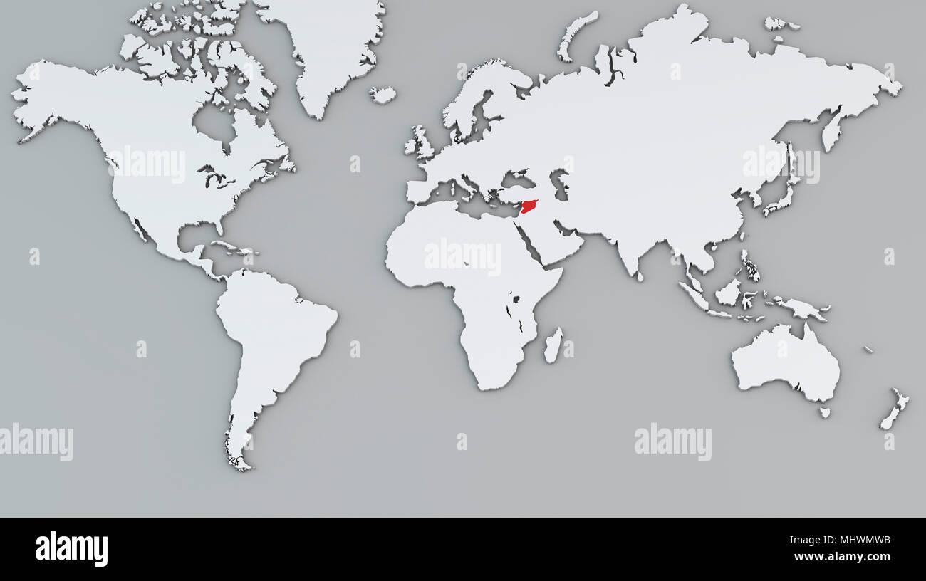 Cartina Geografica Del Mondo In Bianco E Nero.Mappa Mondo Bianco Mappa Geografica Cartografia Atlas La Siria Paese Rosso Foto Stock Alamy