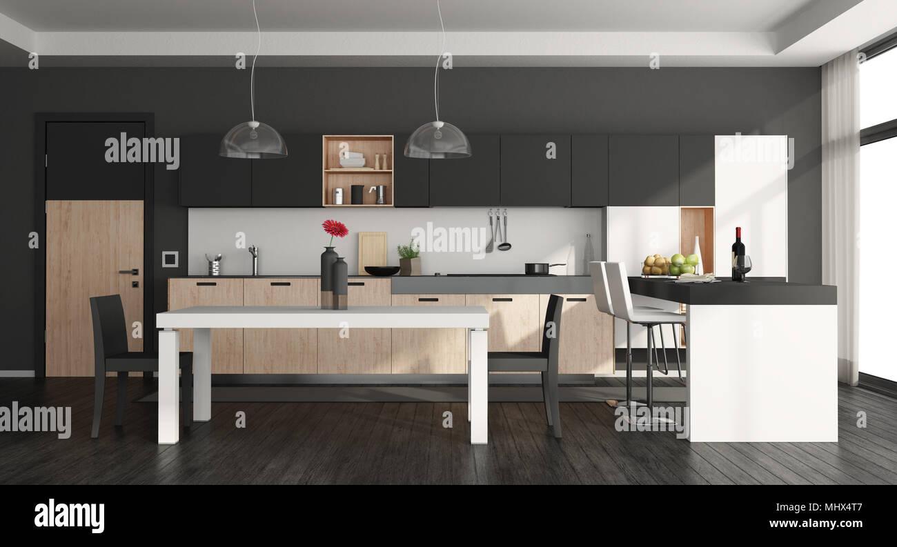 Tavolo Bianco E Nero Cucina.In Bianco E Nero La Cucina Moderna Con Isola E Tavolo Da
