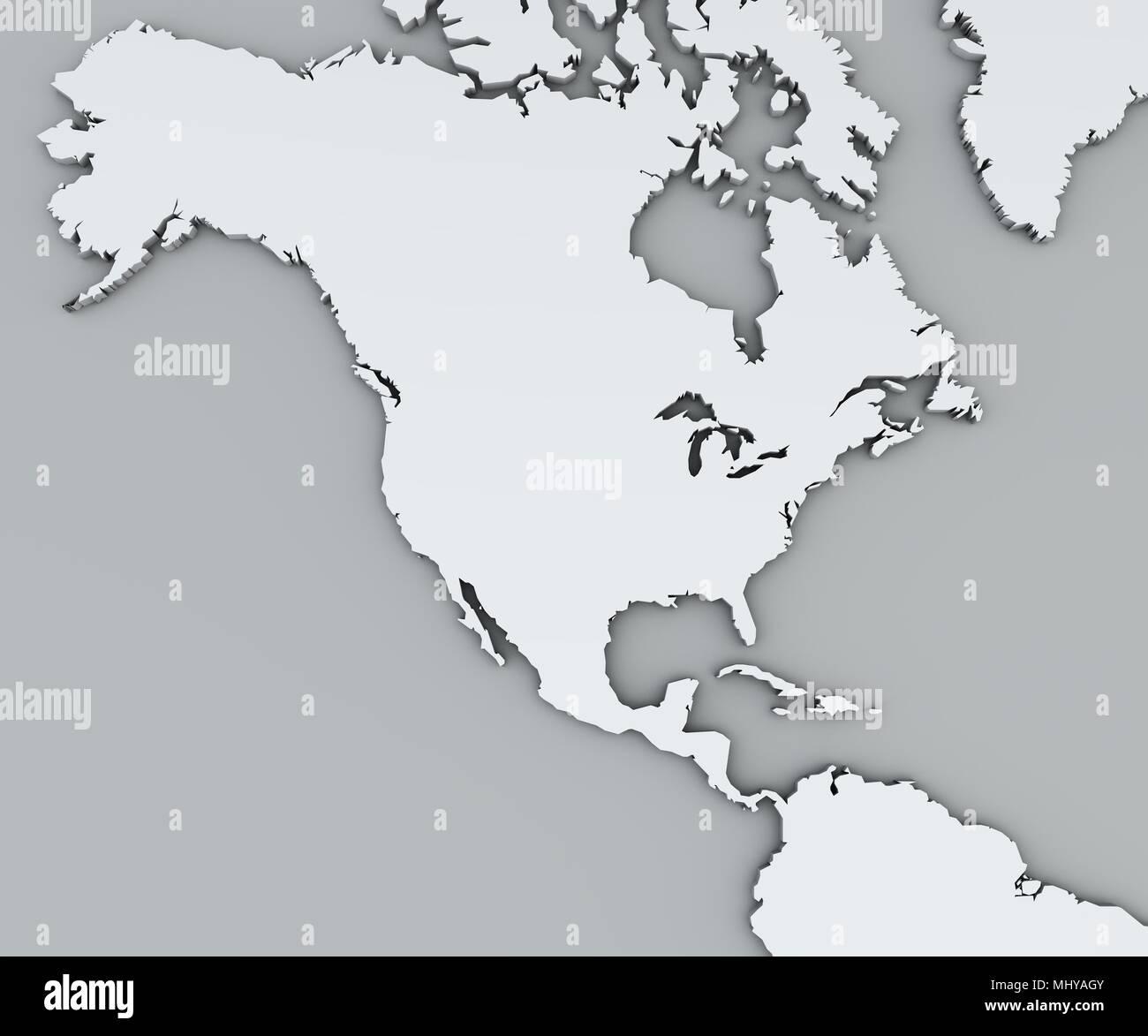 Cartina Fisica Del Nord America.Mappa Del Nord America Bianco Mappa Geografica Fisica Cartografia Atlante Geografico Foto Stock Alamy
