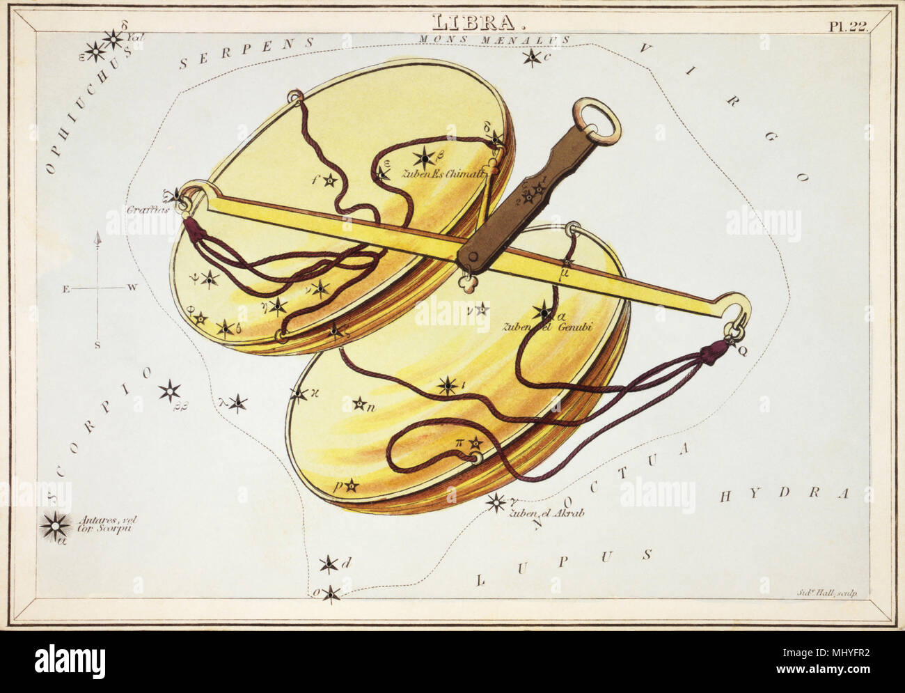 Libra. Numero di carta di credito 22 dallo specchio di Urania, o una vista del cielo, uno di una serie di 32 stelle astronomico schede grafico incisi da Sidney Hall e publshed 1824. Immagini Stock