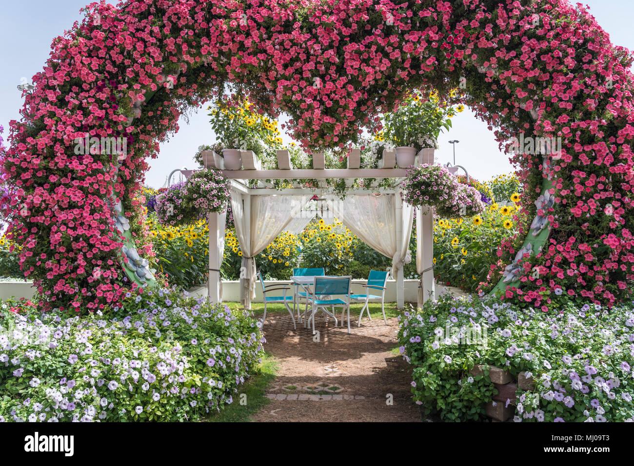 A forma di cuore arredamento da giardino presso il miracolo di giardini in Dubai, UAE, Medio Oriente. Immagini Stock