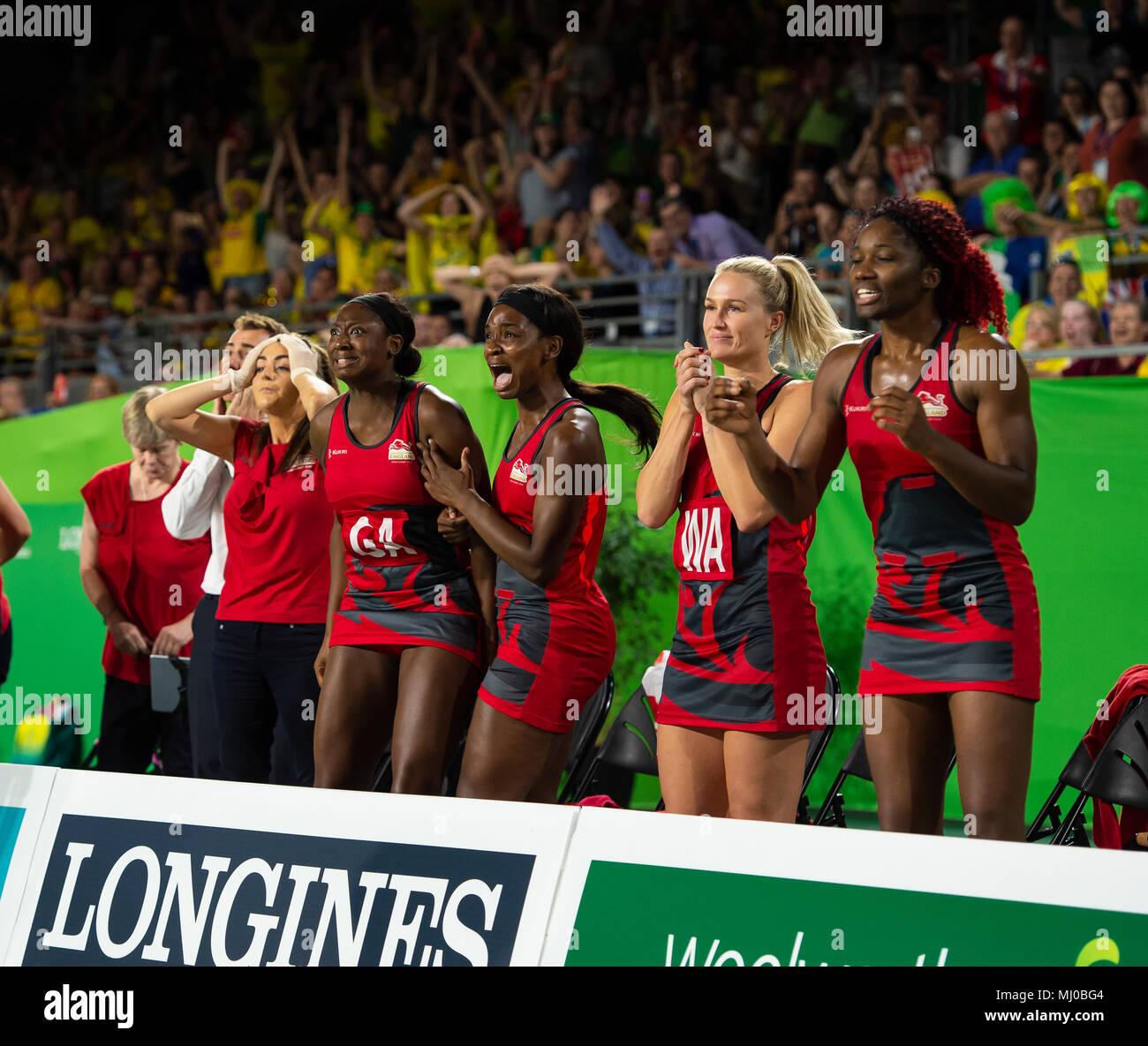 Australia v England Netball Medaglia d'Oro Giochi Match-Commonwealth 2018 Immagini Stock