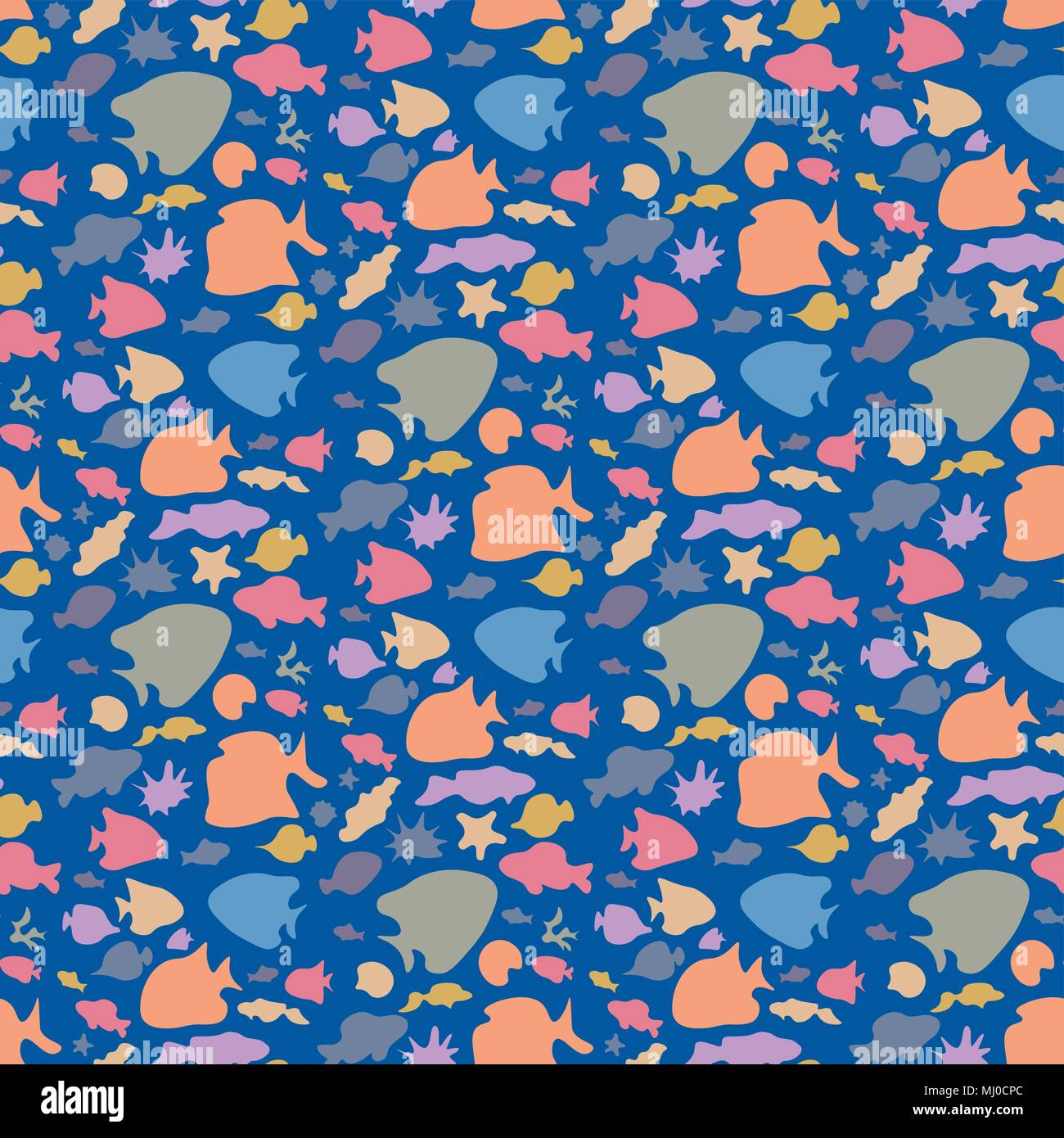 Vector Colorati Pesci Seamless Pattern Varie Brillante Mare Pesce