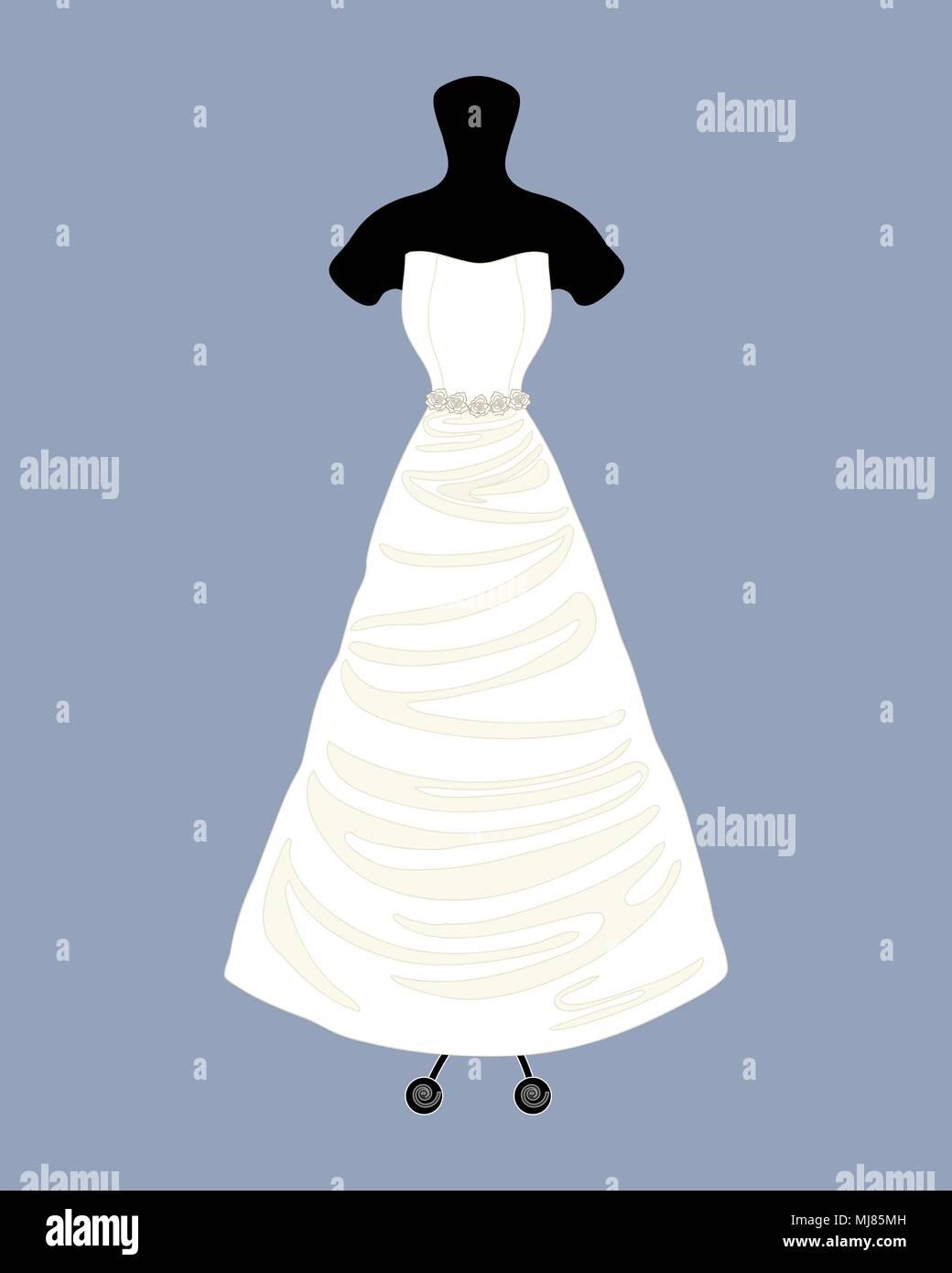 Una illustrazione vettoriale in formato eps 8 formato di un designer di Bellissimo abito da sposa in un abito di linel stile con un mantello completo su uno sfondo blu Immagini Stock