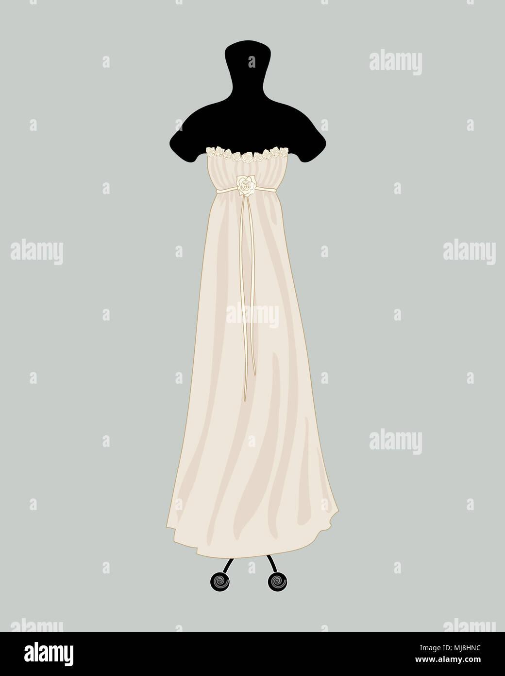 Una illustrazione di un designer di Bellissimo abito da sposa in un elegante stile greco con decorazione di rose un d ruching su un vintage sfondo blu Immagini Stock
