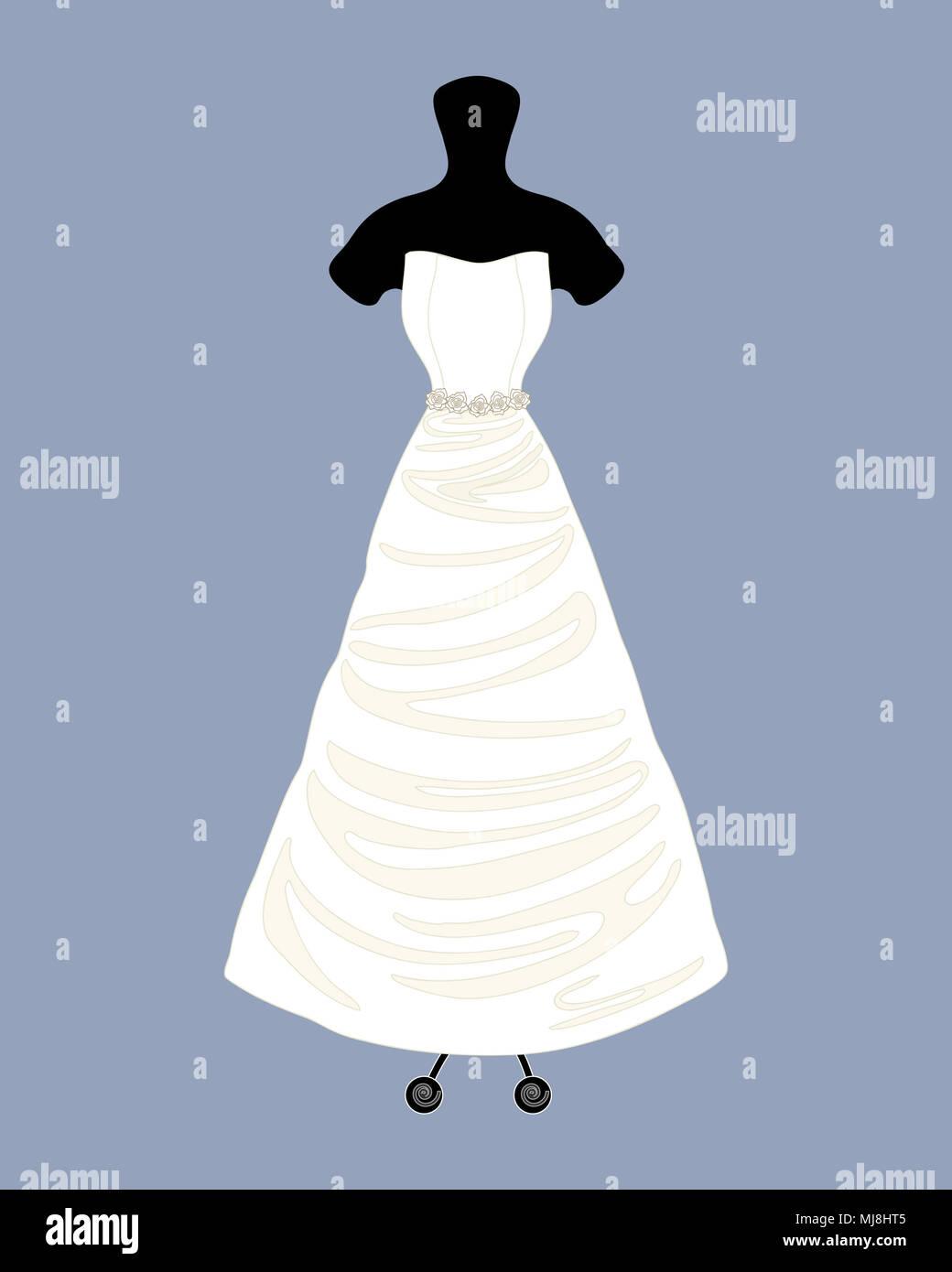 Un'illustrazione di un designer di Bellissimo abito da sposa in un abito di linel stile con un mantello completo su uno sfondo blu Immagini Stock