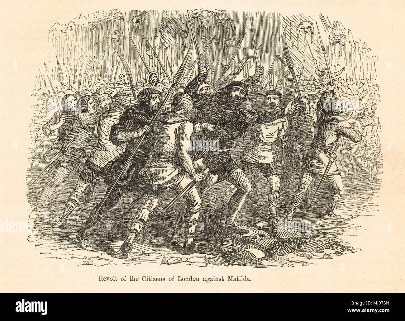 La rivolta dei cittadini di Londra contro l'Imperatrice Matilda, Giugno 1141 Immagini Stock