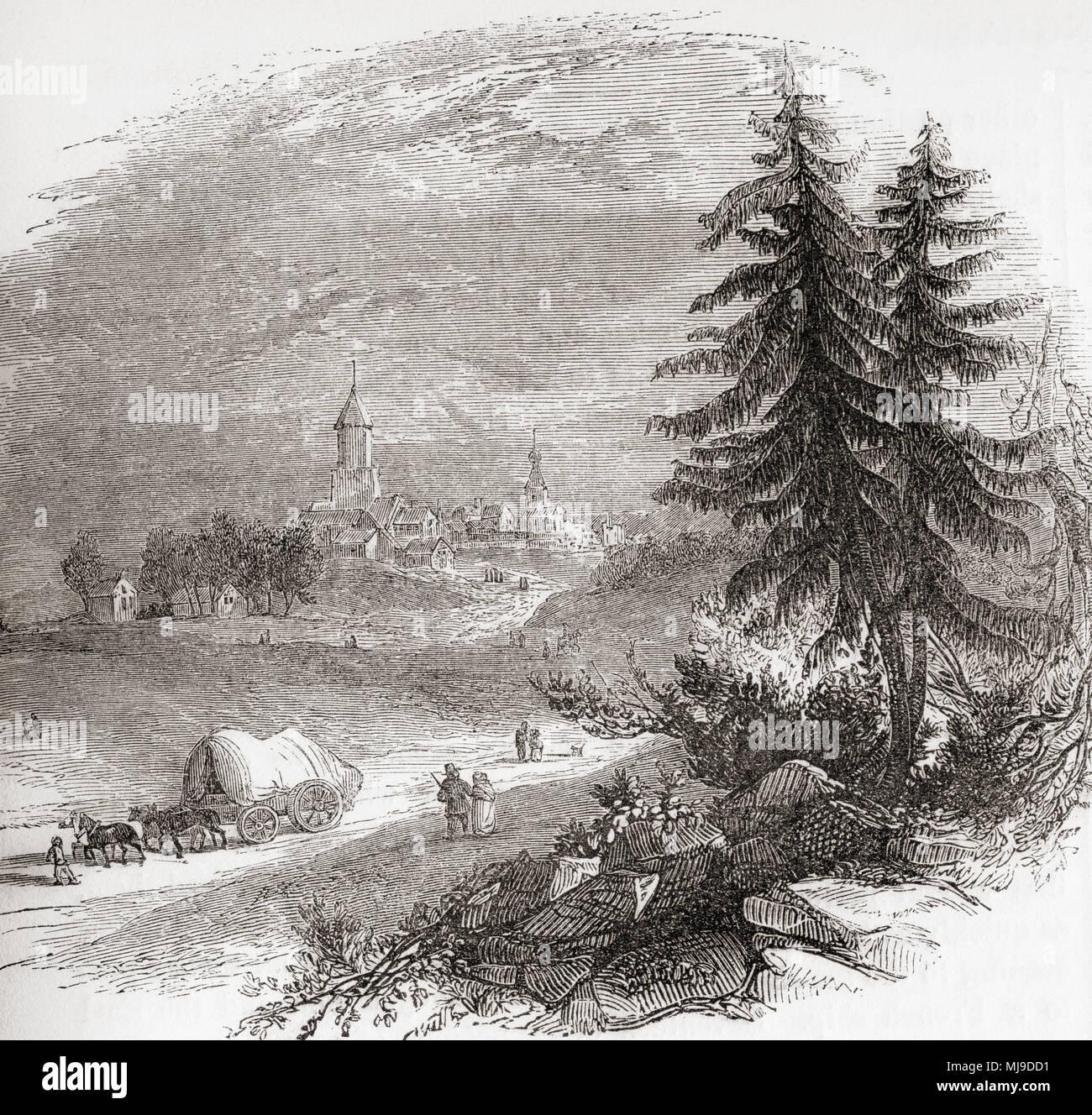 Una vista di Falkirk, Scozia. Da Vecchia Inghilterra: un museo pittorico, pubblicato nel 1847. Immagini Stock