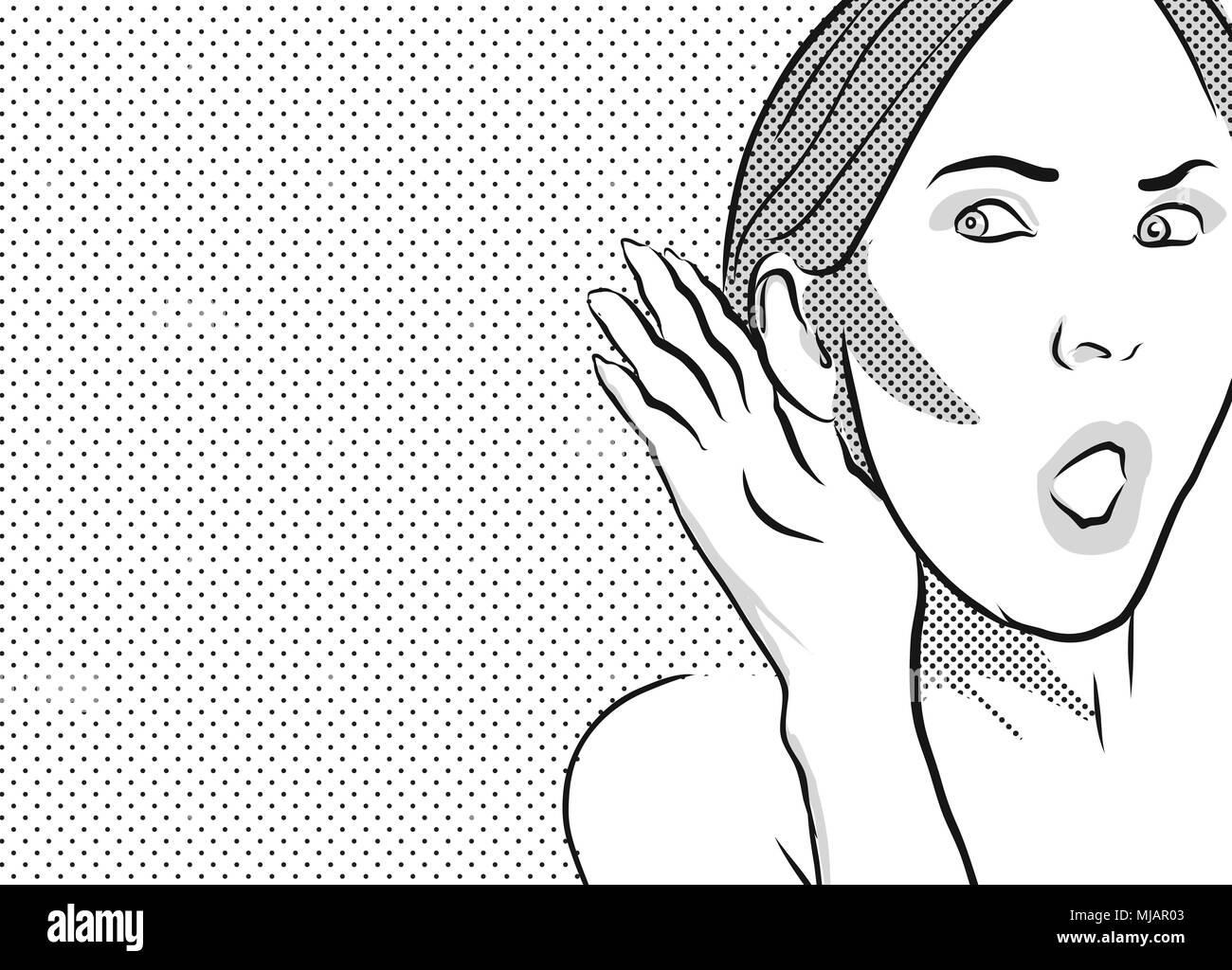 Audizione Gossip Girl fumetto clipart vintage con grigio sfondo puntinato Immagini Stock