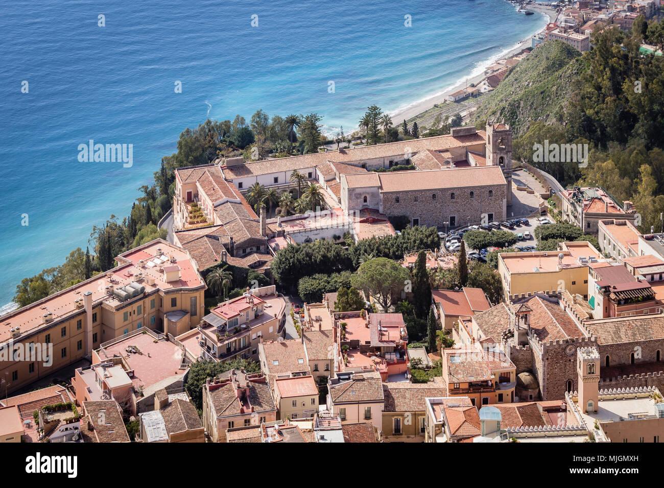 Taormina con San Domenico Palace Hotel, Sicilia. Immagini Stock