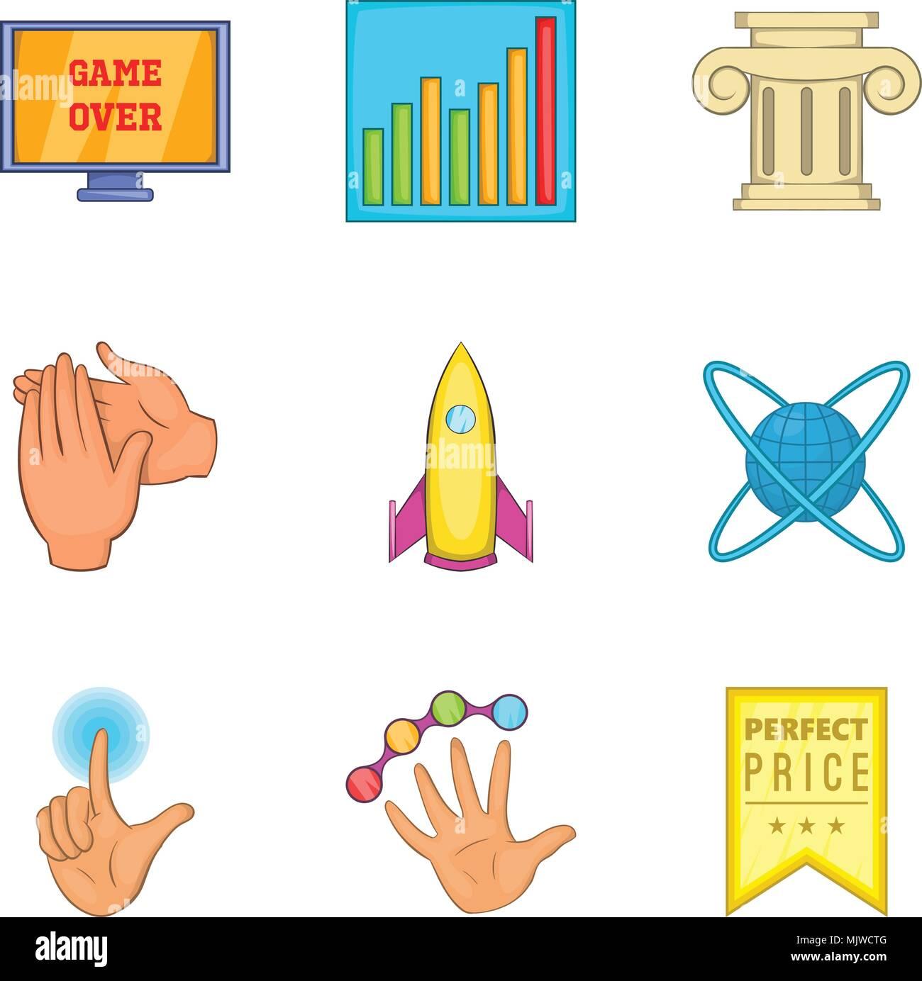 Menzione speciale set di icone, stile cartoon Immagini Stock