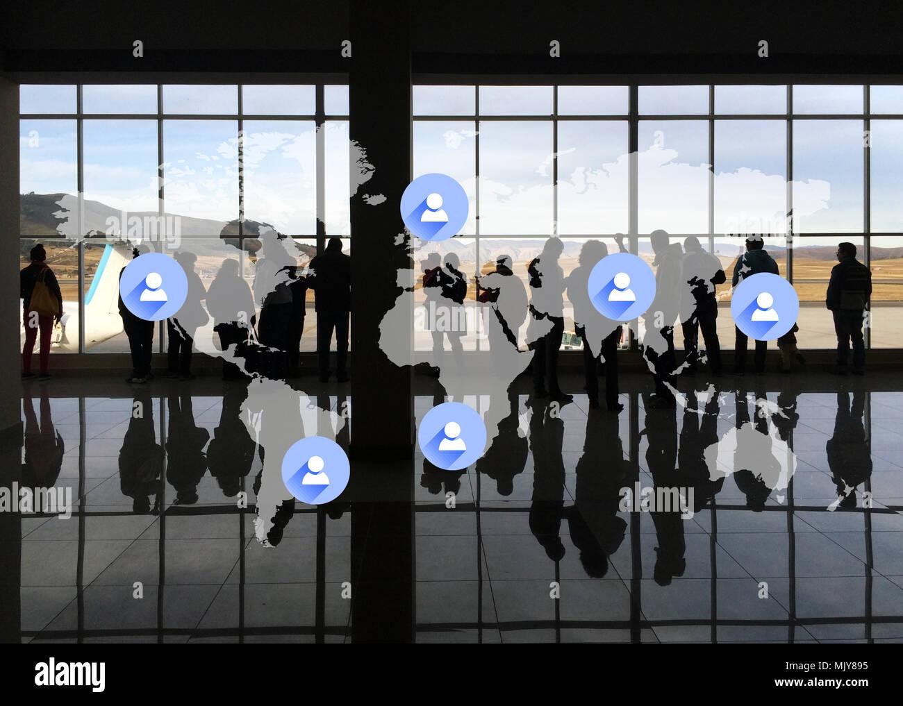 La globalizzazione e la Corporate Travel Immagini Stock