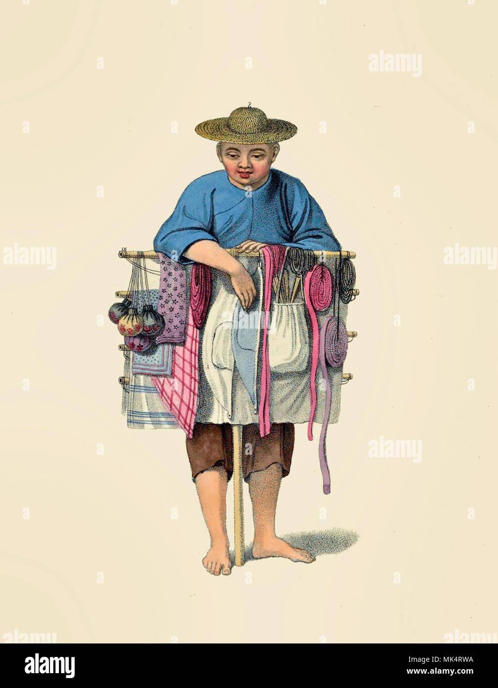 Un venditore_ambulante in Cina, 1800 Immagini Stock