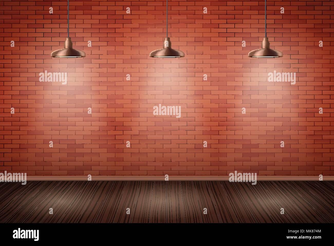 Interno di mattoni rossi con parete vintage pedente for Pavimento in legno interno