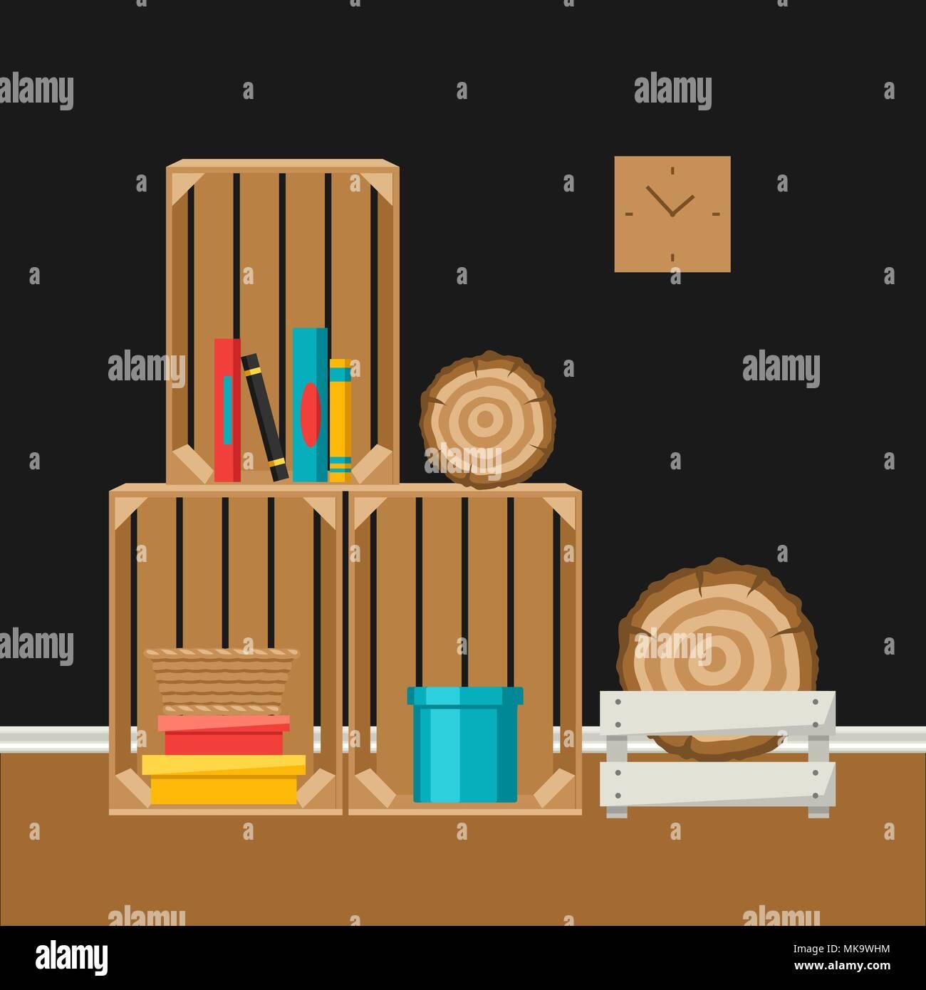Interior home decor. Scatole di legno. Immagini Stock