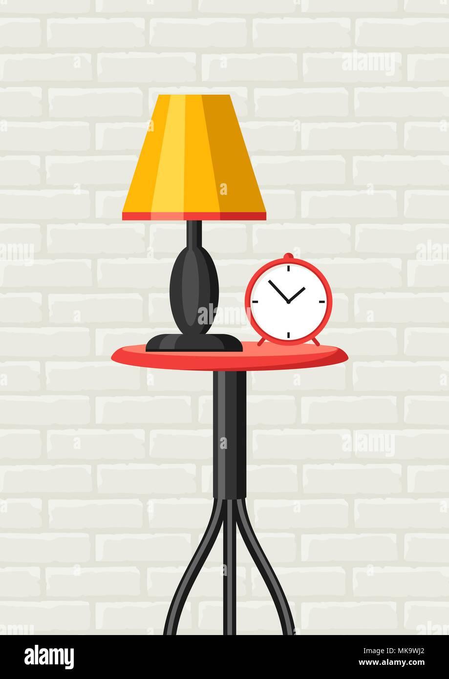Interior home decor. Tabella, lampada e orologio. Immagini Stock