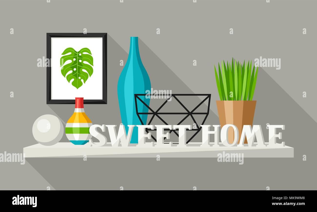 Scaffale con arredamento di casa. Vaso, immagine e impianto. Immagini Stock