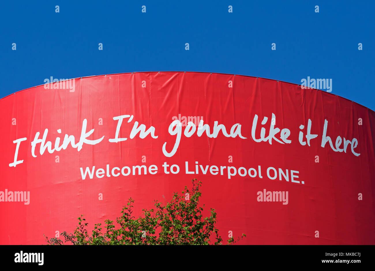 """Segno a Liverpool One shopping centre Liverpool Regno Unito, dicendo """"penso che sto andando come qui"""". Immagini Stock"""
