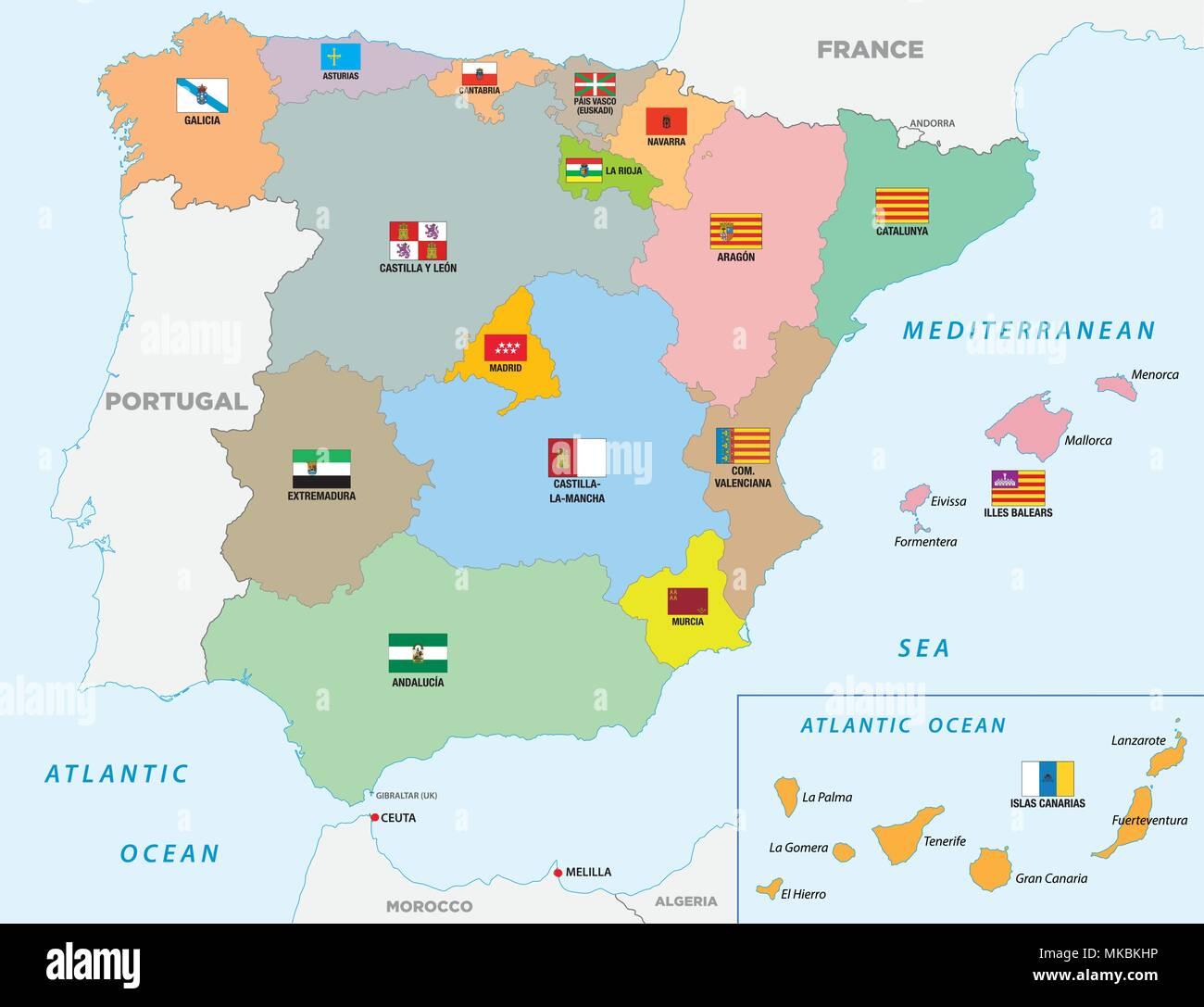 Regioni Spagna Cartina Politica.Spagna Politica E Amministrativa Di Mappa Vettoriale Con Bandiere Immagine E Vettoriale Alamy