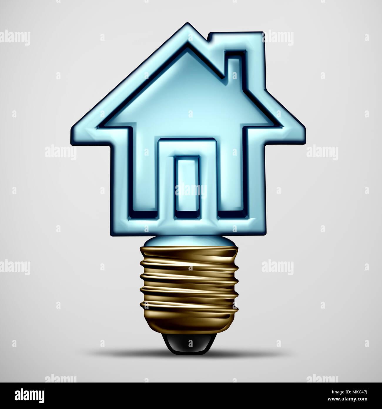 Home idea e casa ispirazione come un 3D illustrazione di una soluzione residenziale simbolo con una lampadina elettrica conformata come una residenza. Immagini Stock