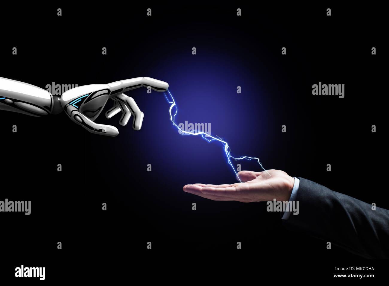 Il robot e la mano umana collegati da un fulmine Immagini Stock