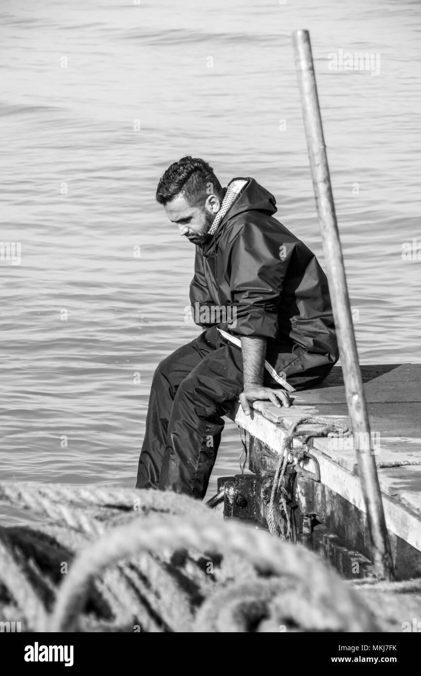Deluso fisherman Immagini Stock
