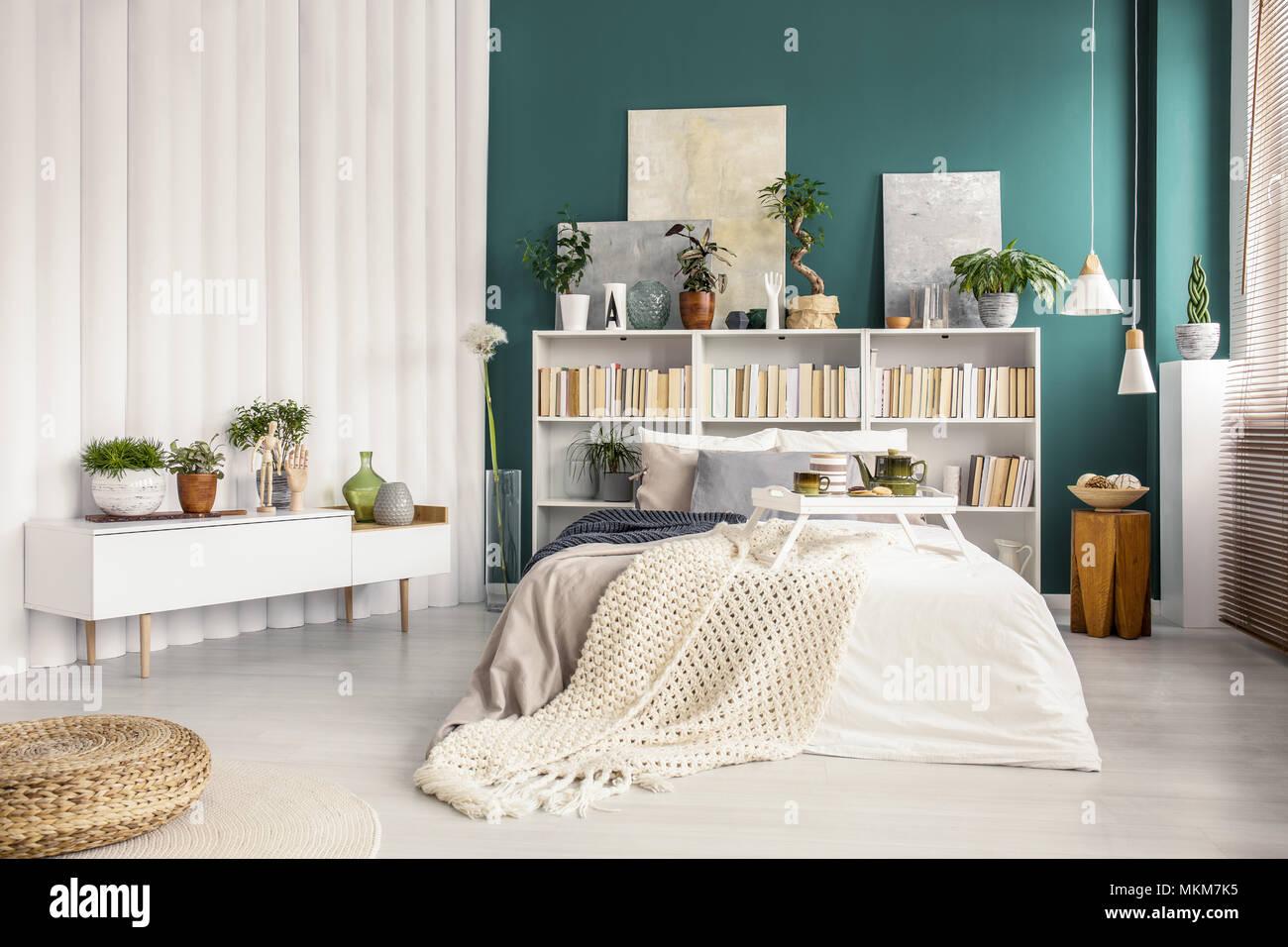 Libreria con dipinti dietro il letto con coperta in camera ...