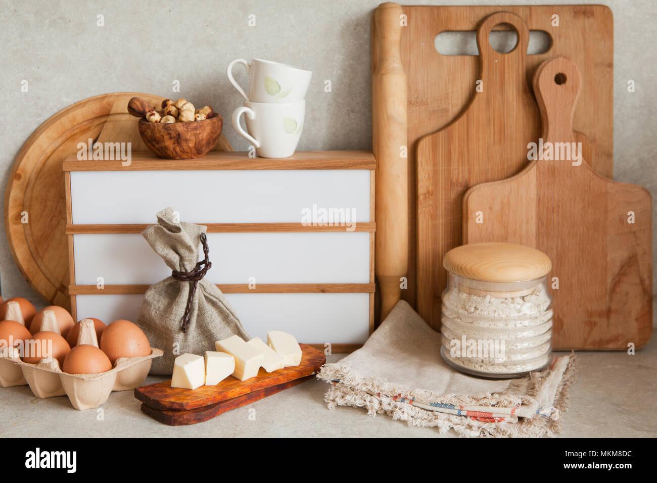 La cottura o la cottura ingredienti articoli da cucina per la