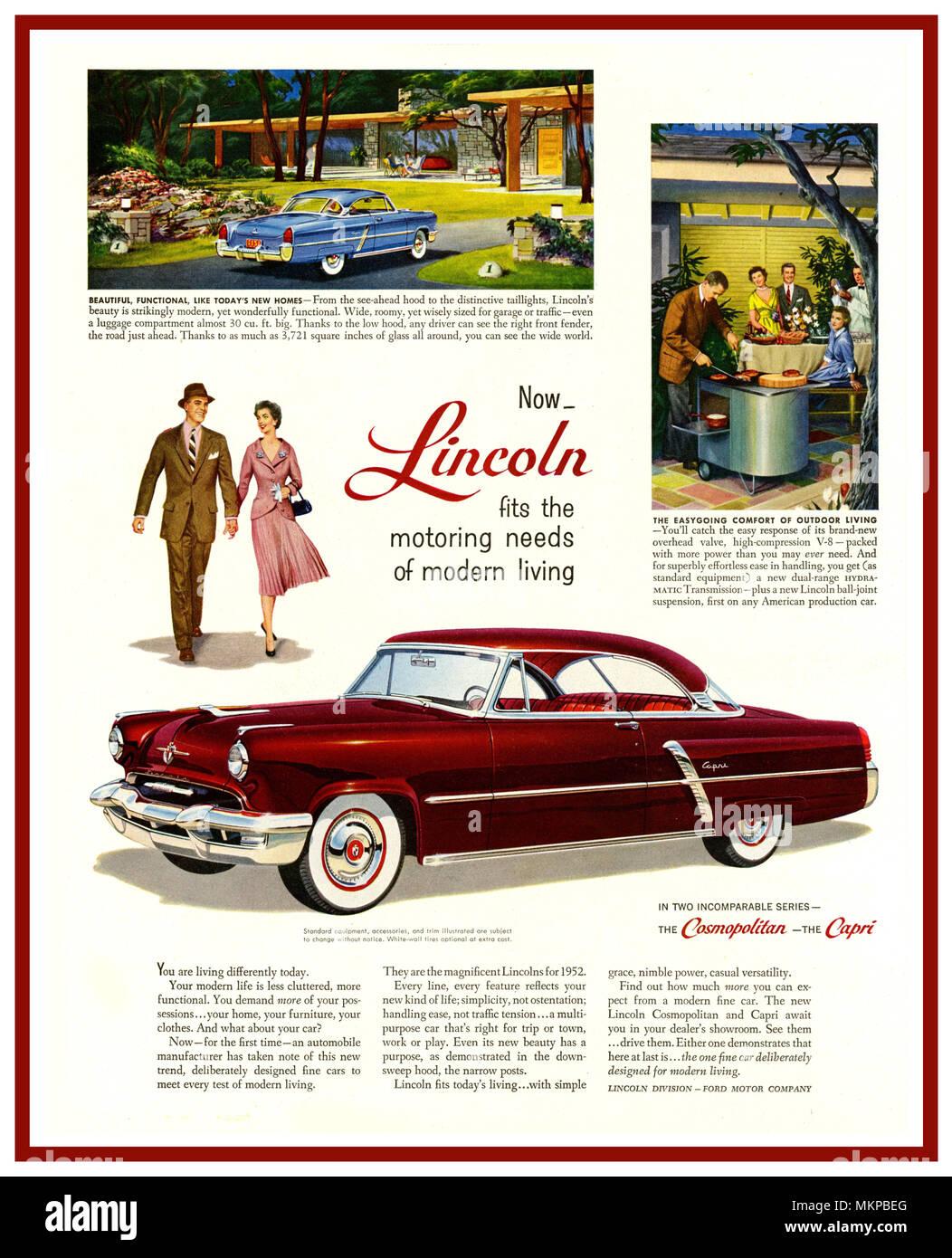 1952 American Lincoln Automobile Annuncio Pubblicitario Per Il Lusso
