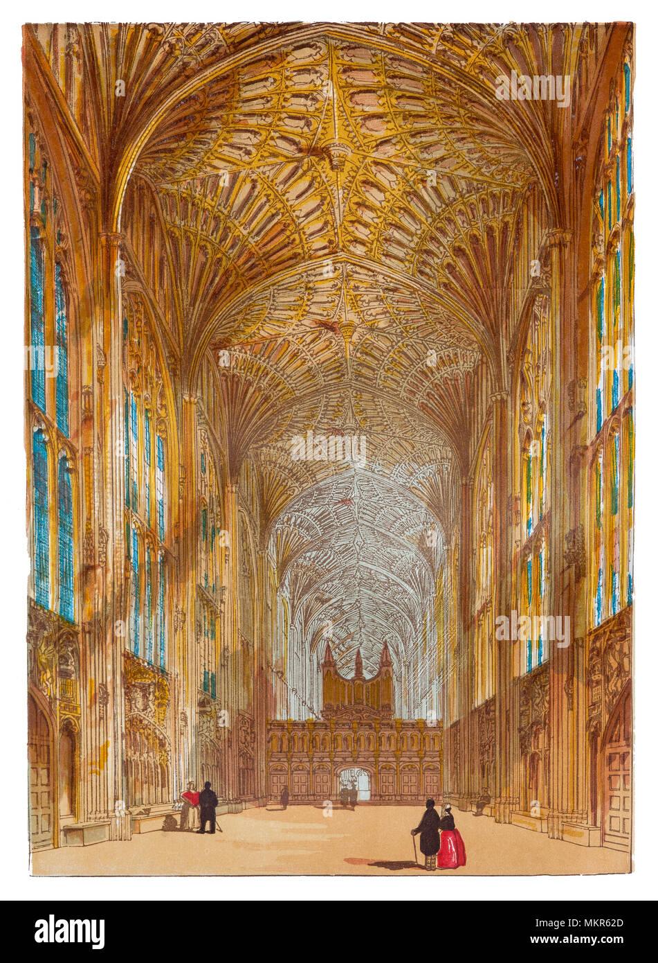 King's College Chapel è la Cappella del King s College dell Università di Cambridge. È considerato uno dei migliori esempi del tardo gotico perpendicolare architettura inglese. La cappella fu costruito in più fasi da una successione di re d'Inghilterra dal 1446 al 1515, un periodo che attraversava le guerre del Rose. La cappella di grandi vetrate colorate non sono stati completati fino al 1531, e il suo primo Rinascimento rood dello schermo è stata eretta nel 1532-36. La cappella è attiva una casa di culto e la casa del re College coro. Immagini Stock