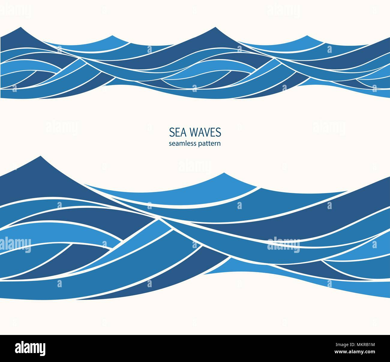 Marine Modello Senza Cuciture Con Stilizzata Onde Blu Su Sfondo