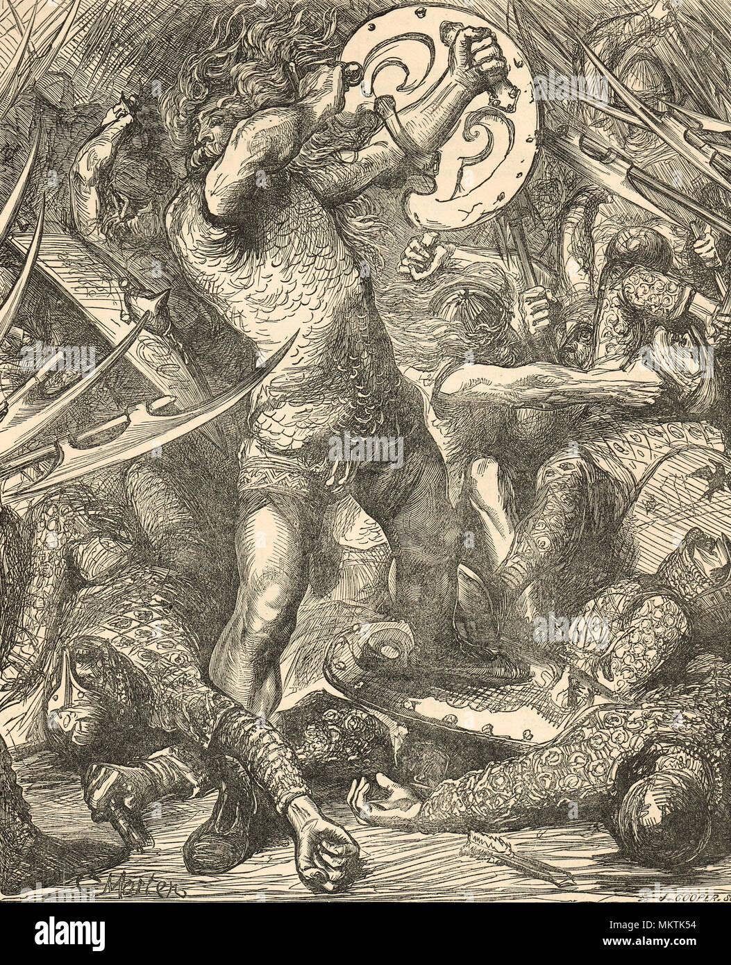 Hereward scia, leader della resistenza locale alla conquista normanna dell'Inghilterra, lotta contro i soldati di Norman Immagini Stock