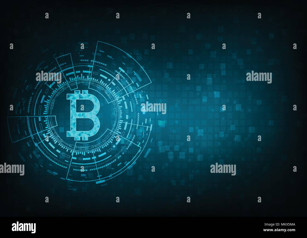Abstract Futuristico Denaro Digitale Con Logo Bitcoin Valuta
