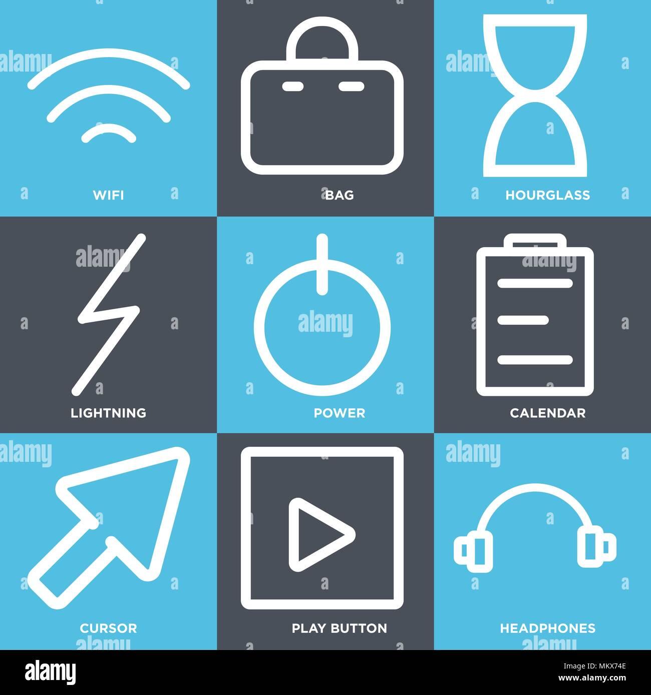 Borsa Calendario.Set Di 9 Semplici Icone Modificabili Quali Cuffie Tasto