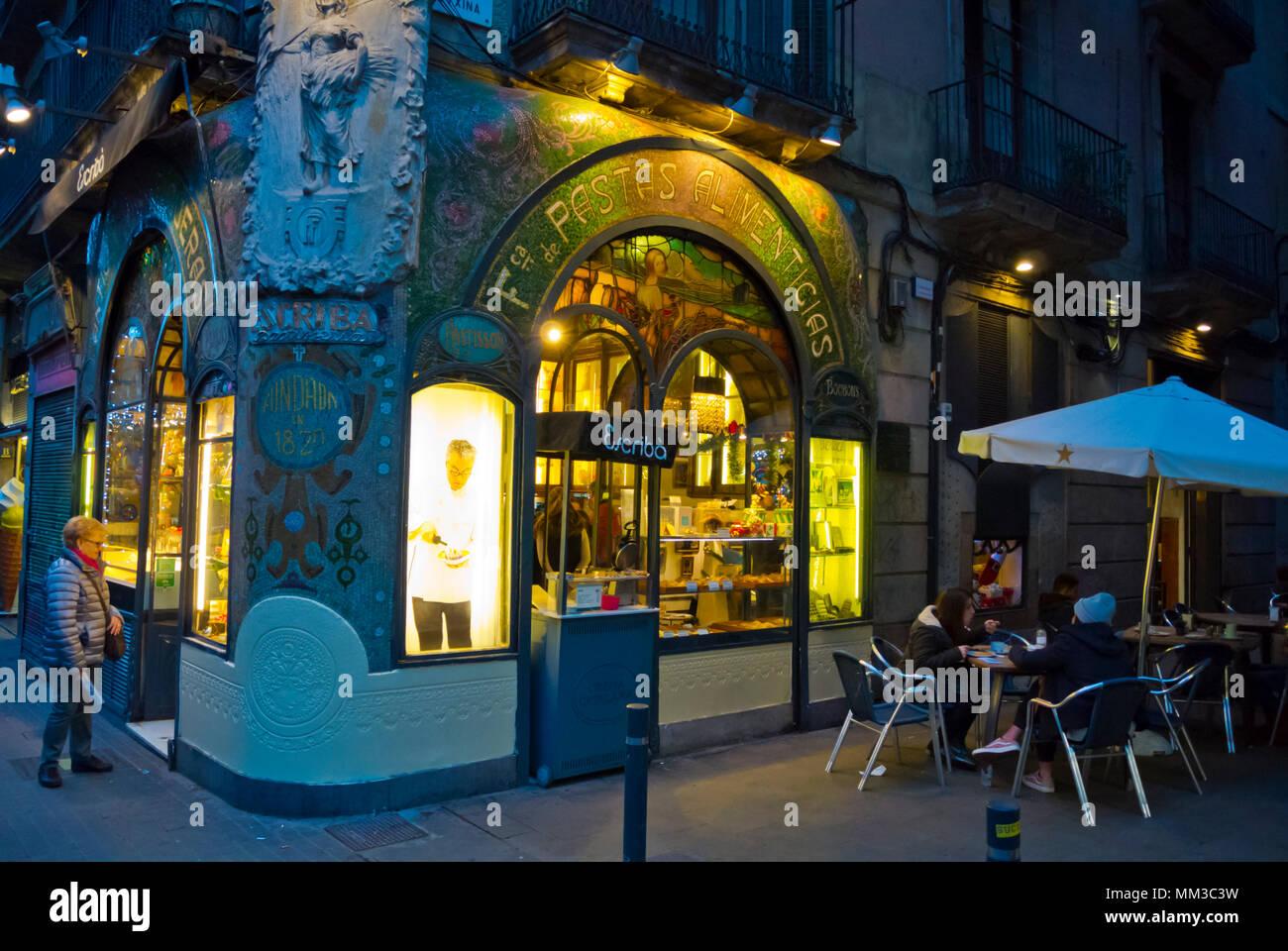 Escriba Pastisseria, La Rambla, Barcelona, Catalogna, Spagna Immagini Stock