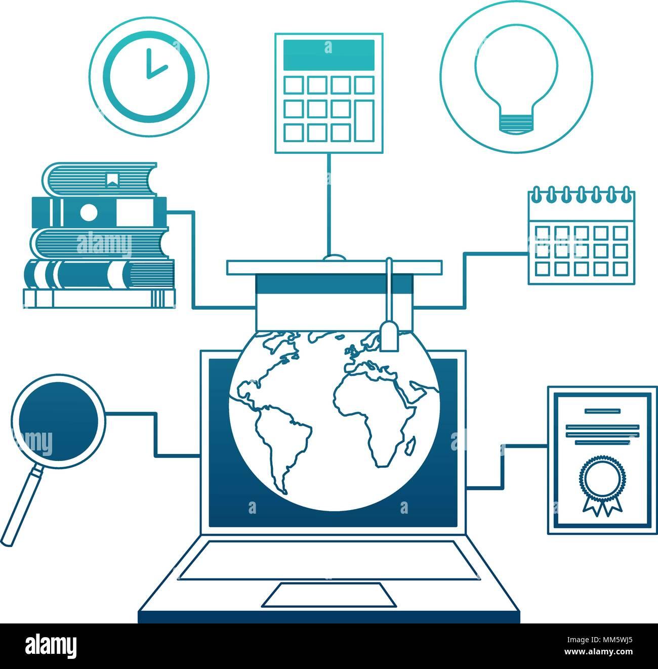 Computer portatile con mondo pianeta terra e le icone di