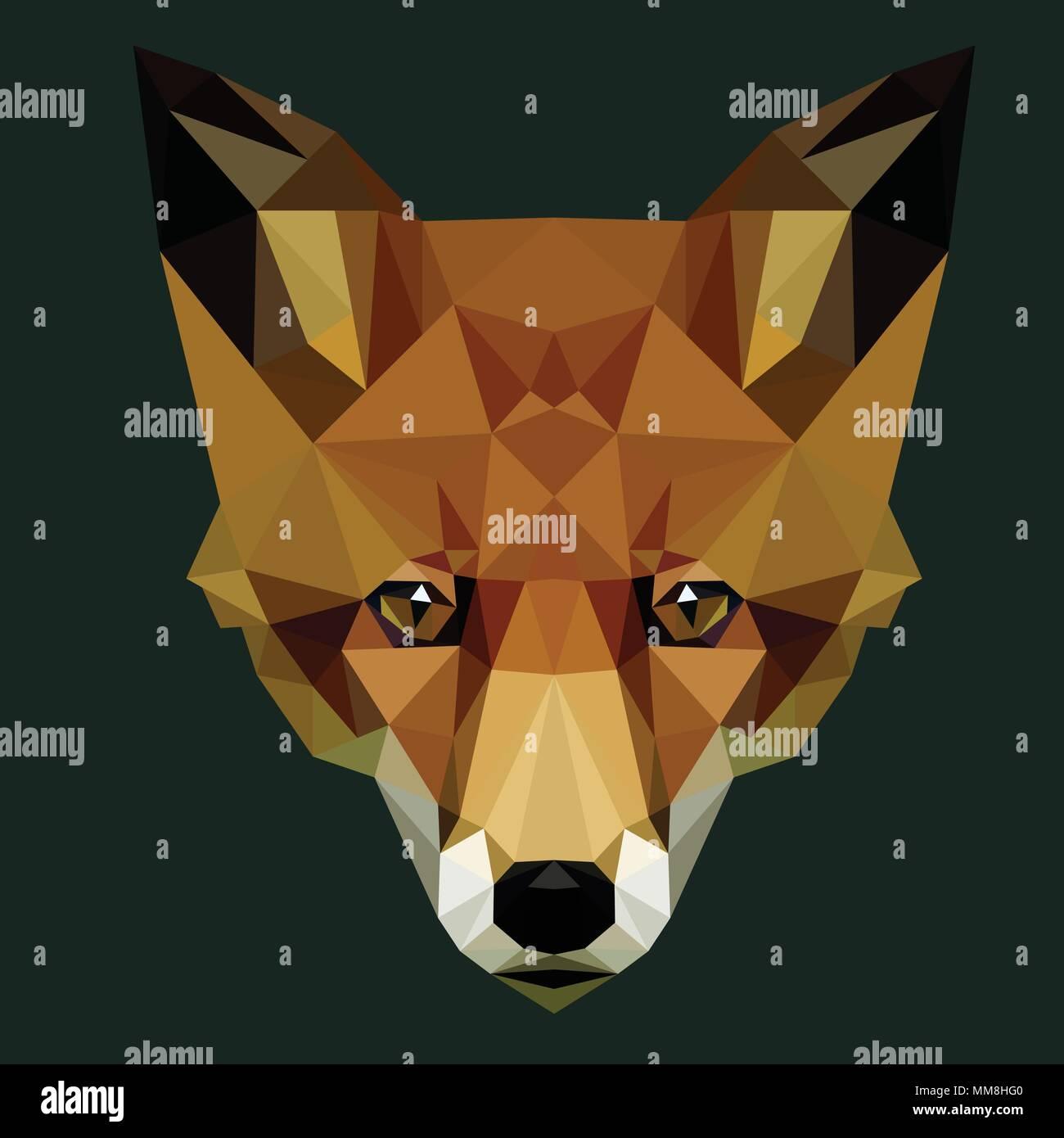 Vettore fox poligonale di testa bassa poli illustrazione degli