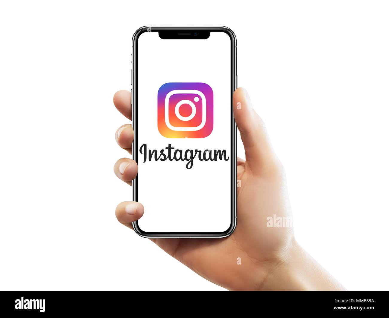 Istanbul 10 Maggio 2018 Apple Iphone Schermo X Con Instagram Logo