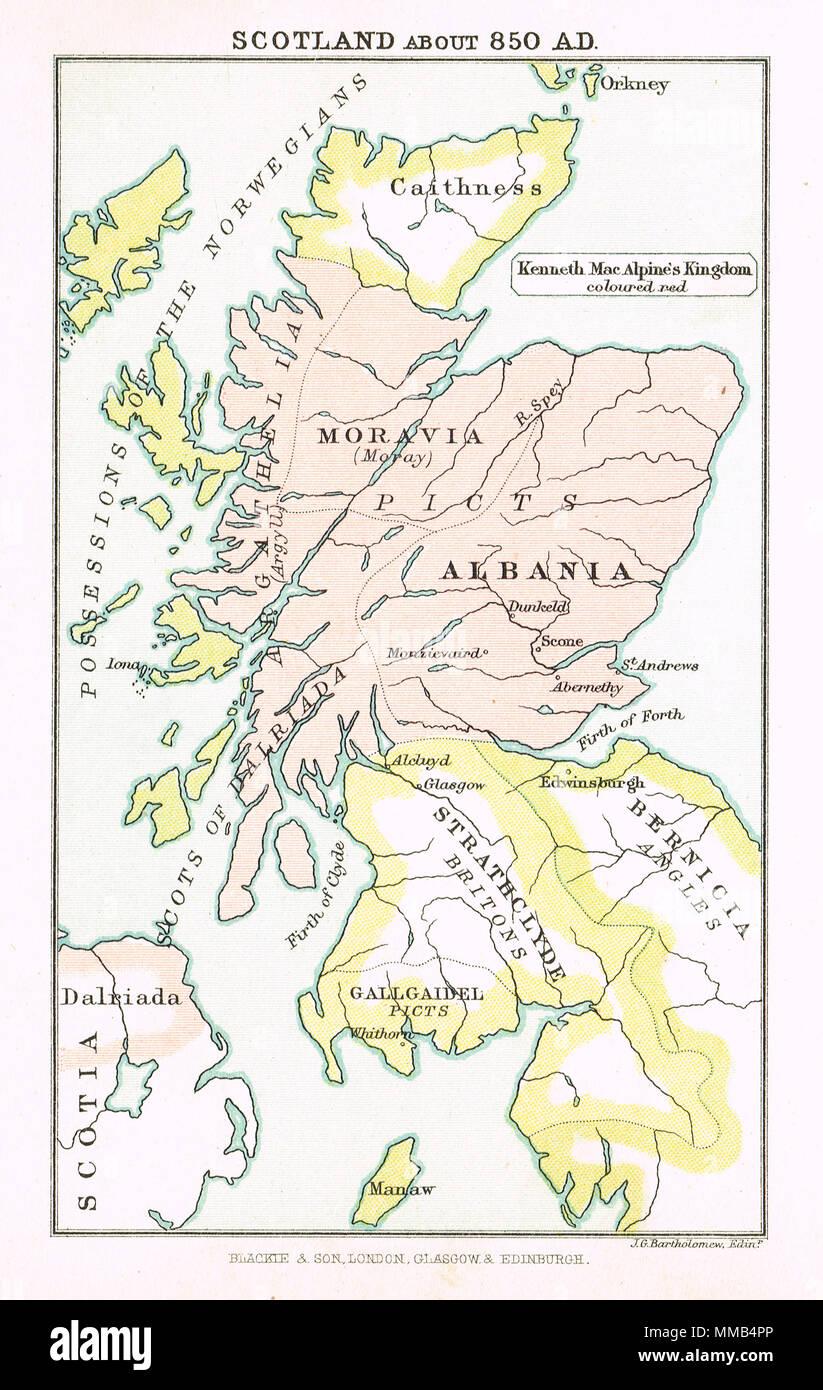 Mappa della Scozia nel 850 d.c. Immagini Stock