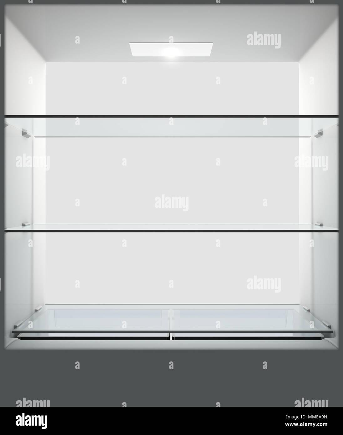 Una vista dall'interno di una casa vuota frigo o freezer guardando fuori dalla porta aperta - 3D render Immagini Stock