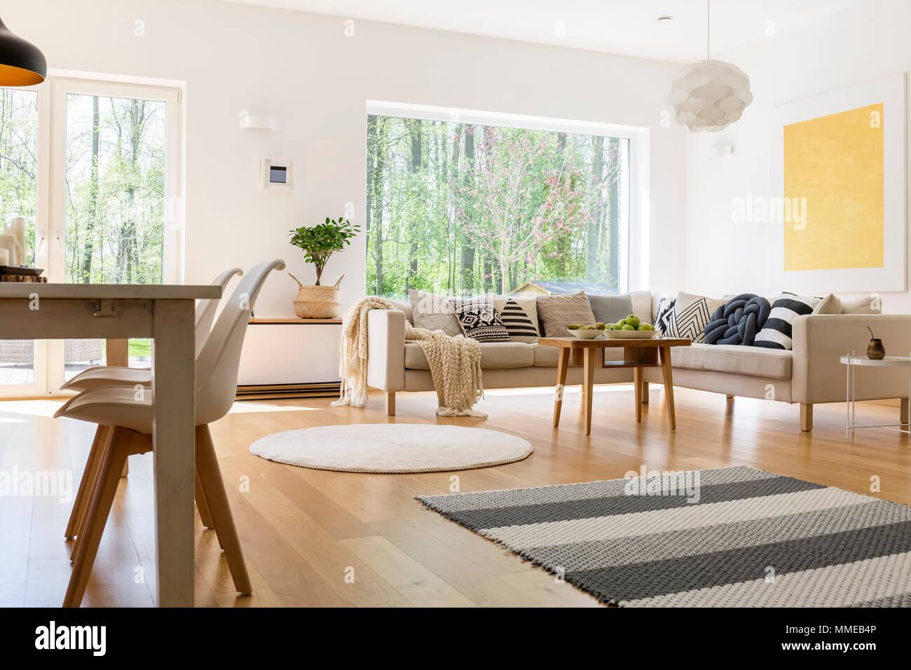 Bianco e arredamento in legno di spaziosa elegante soggiorno ...
