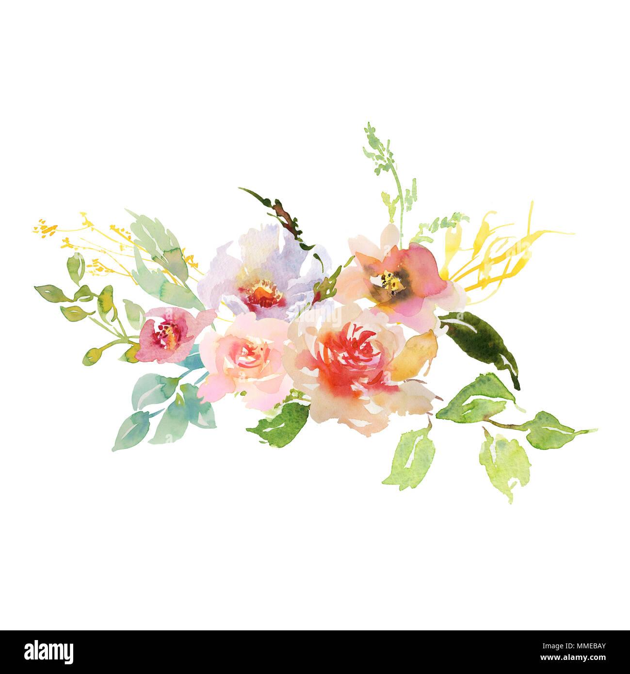 Disegno a mano ad acquerello nuziale matrimonio bouquet for Fiori verdi