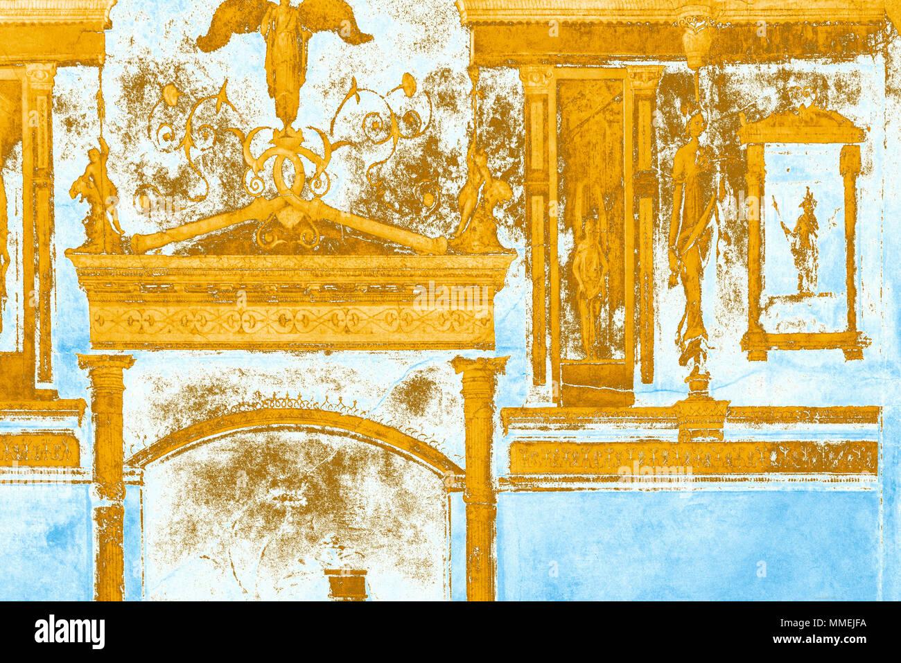 Affresco dettaglio (reso in PS), da Agripa della Villa della Farnesina (camera da letto / cubiculum B), Roma, Italia Immagini Stock