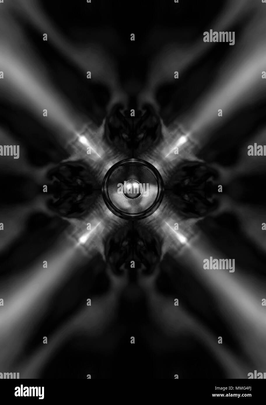 Bianco E Nero Musica Caleidoscopio Altoparlante Su Uno Sfondo Scuro