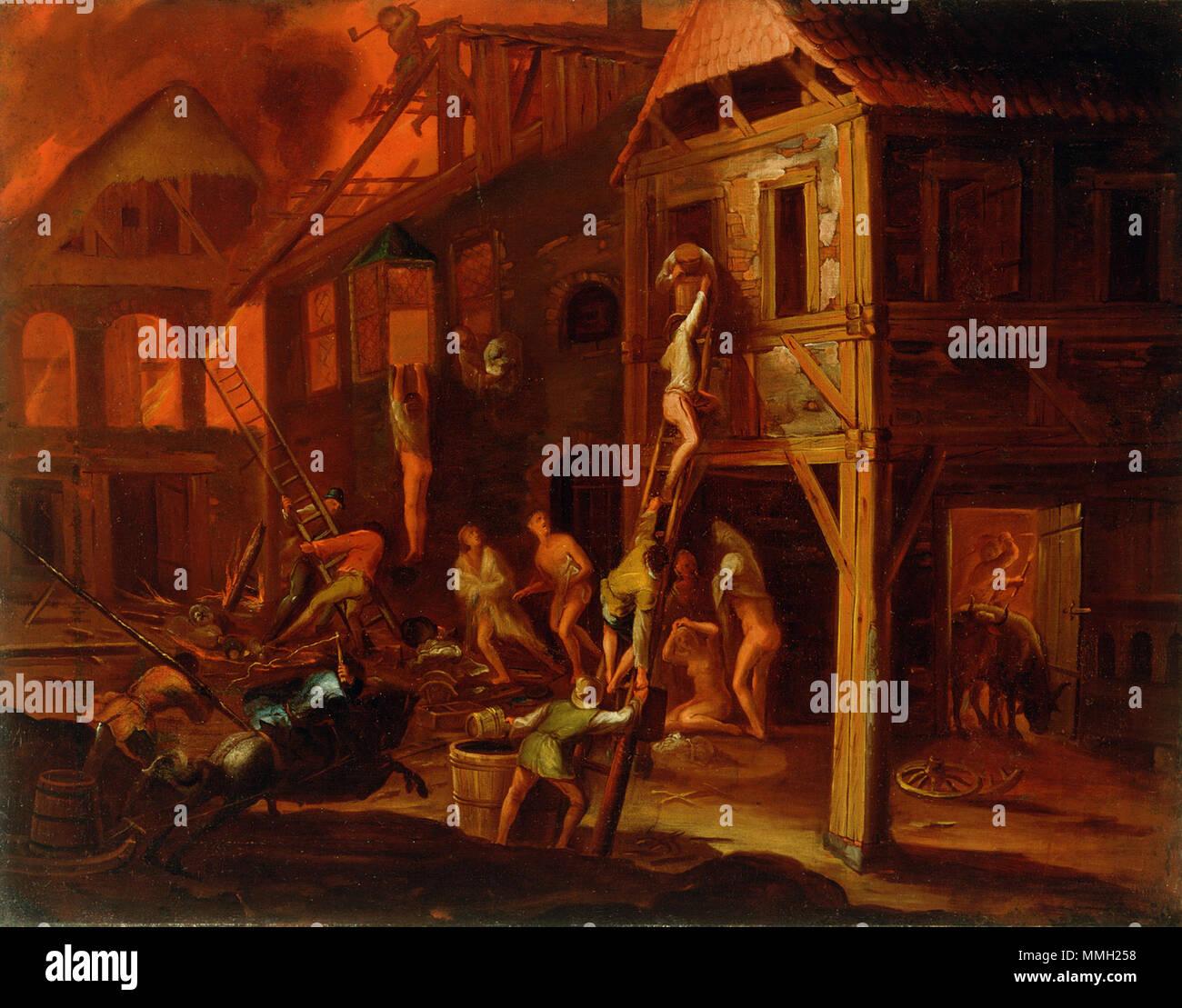 4 T Gillis van Valckenborch - Požar na vasi Immagini Stock