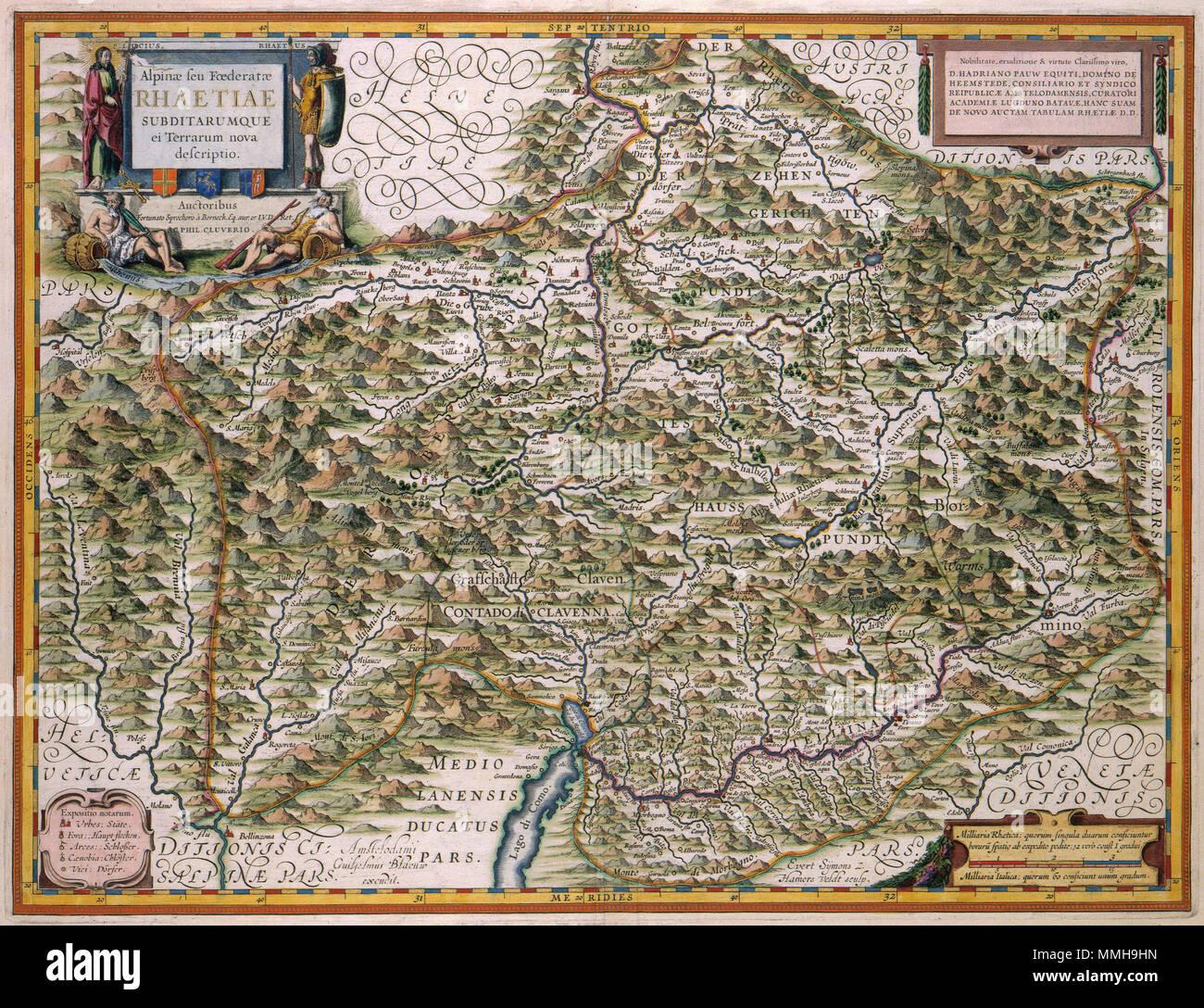 Nederlands Deze Kaart Van De Alpen Van De Zwitserse Kartograaf